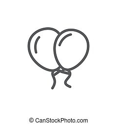Balloon line icon on white background