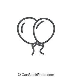 Balloon line icon on white background
