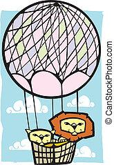 balloon, lions, deux