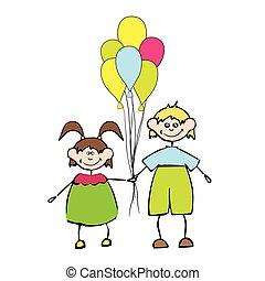 balloon, lurar, lycklig