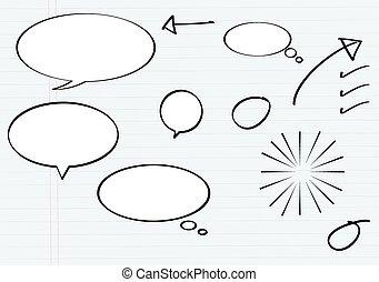 balloon, messaggio, in, illustrazione matita, s