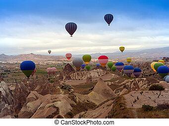 balloon, montagne, air
