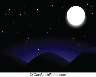 Beautiful full moon shining onver mountains