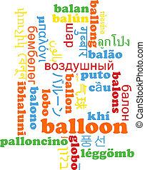 Balloon multilanguage wordcloud background concept
