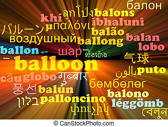 Balloon multilanguage wordcloud background concept glowing