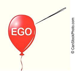 balloon, nål, ego, röd