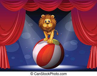 balloon, nad, gorący, lew, powietrze