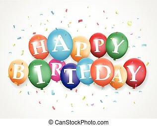 balloon, narozeniny, grafické pozadí