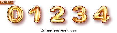 Balloon numbers from golden metal foil vector