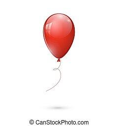 balloon, odizolowany, ilustracja, tło., wektor, połyskujący, biały czerwony