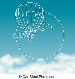 Balloon on background of cloudy sky with space for text