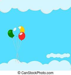 balloon on the blue sky .Illustration vector.