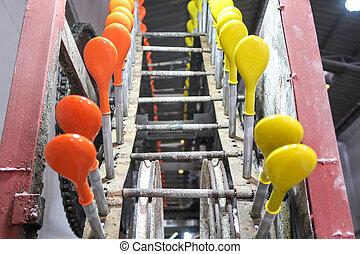 balloon, oparbejdelse, ind, den, fabrik