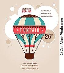 balloon, ouderwetse , circus, lucht, vector, achtergrond,...