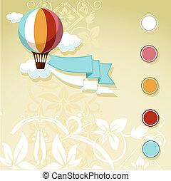 balloon, ouderwetse , vliegen, ontwerp