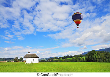 Balloon over the lovely chapel