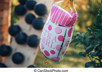 balloon, palloni, elio, nero, pieno, white-pink, fondo
