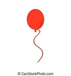 balloon, piros, ikon