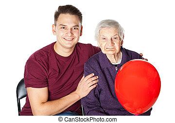 balloon, piros, mosolygós, fiúunoka, nagyanyó