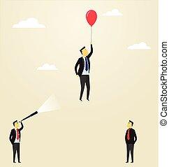 balloon., pojęcie, success., handlowy, przelotny, team., przewodnictwo, górna strona, człowiek, personel
