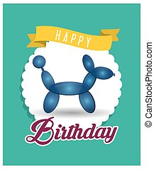 balloon puppy ribbon happy birthday card green