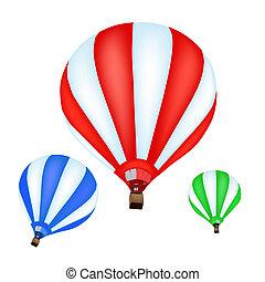 balloon, quentes, coloridos, ar