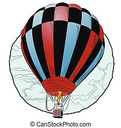 balloon., quentes, voando, ar