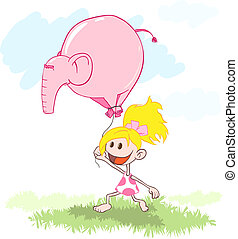 balloon, ragazza, -, elefante