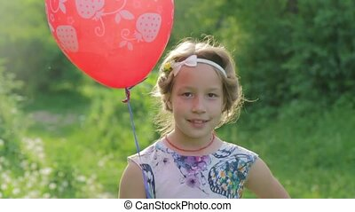 balloon, regarder, appareil photo, portrait, girl, adorable