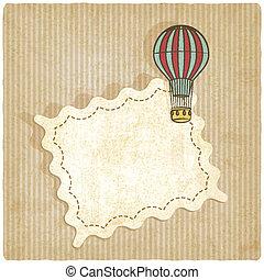 balloon, retro, achtergrond, lucht