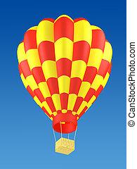 balloon, rosso caldo, giallo, aria