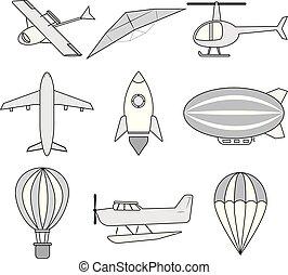 balloon, ruimteraket, lucht, vliegtuig, helikopter, vector.,...