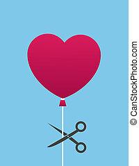 Balloon Scissor Cut Heart - Heart balloon about to be cut by...