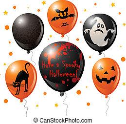 balloon, set, halloween