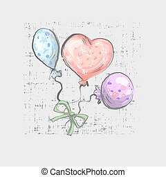 balloon set on grunge background cute childish style