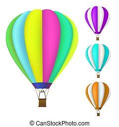 balloon, set, warme, kleurrijke, lucht