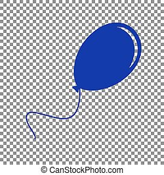 Balloon sign illustration. Blue icon on transparent background.
