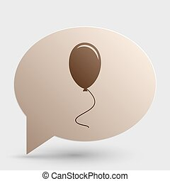 Balloon sign illustration. Brown gradient icon on bubble with shadow.