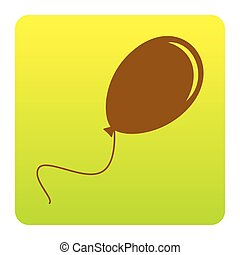 Balloon sign illustration. Vector. Brown icon at green-yellow gradient square with rounded corners on white background. Isolated.