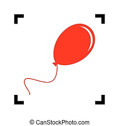 Balloon sign illustration. Vector. Red icon inside black focus corners on white background. Isolated.
