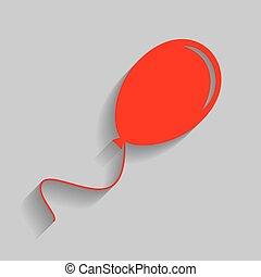 Balloon sign illustration. Vector. Red icon with soft shadow on gray background.
