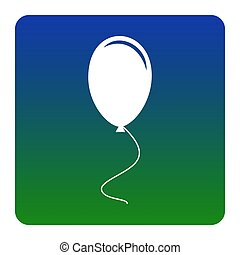 Balloon sign illustration. Vector. White icon at green-blue gradient square with rounded corners on white background. Isolated.