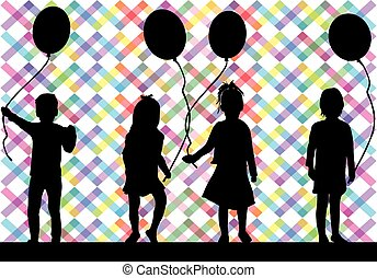 balloon., silhouettes, enfants