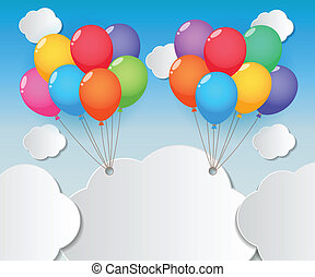 balloon sky background - balloons and clouds on blue sky...