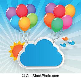 balloon sky background - balloons cloud and birds on sunny...