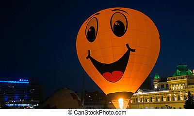 balloon, smiley, 黄色の額面, 熱気