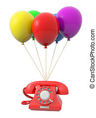 balloon - A telephone being tied by the rope of the balloons