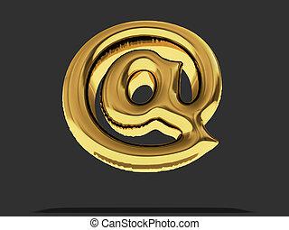 """balloon, symbol., """"at"""", gold, 3d"""