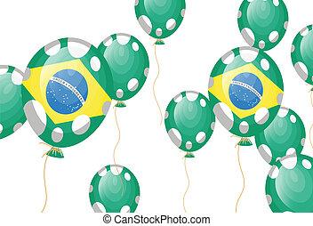 balloon, taches, drapeau, vert, brésilien, blanc