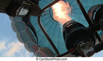Balloon tecnical parts. - Balloon burner aerial shot from...
